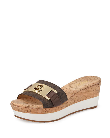 MICHAEL Michael Kors Warren Platform Wedge Sandal, Brown