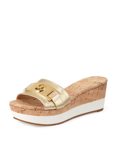 Warren Platform Wedge Sandal, Pale Golden