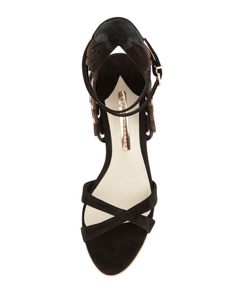 Micah Metallic Angel-Wing Sandal, Black/Rose-Golden