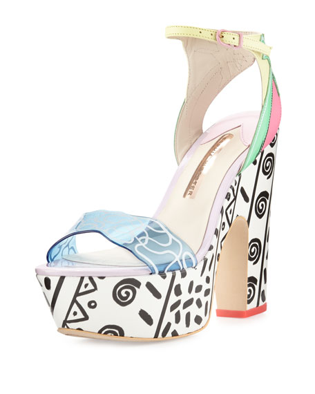 Jade Malibu Leather Platform Sandals, Multi