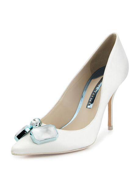 Lola Gem Satin Bridal Pump, Ivory