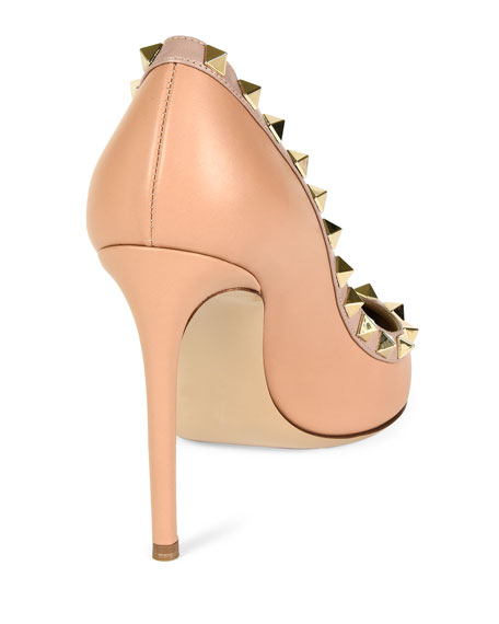 Rockstud Leather 100mm Pump, Skin Sorbet