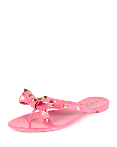 Valentino Rockstud PVC Flat Thong Sandal, Ninphea
