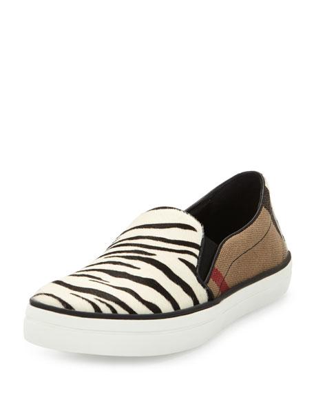Burberry Gauden Check & Animal-Print Sneaker, Black/White