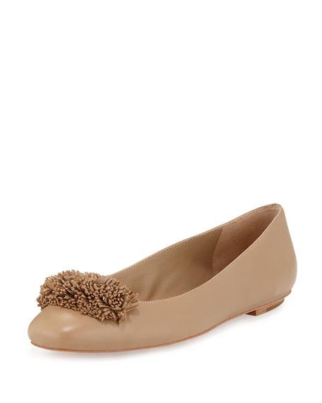 Delman Frill Fringe Ballerina Flat, Sand