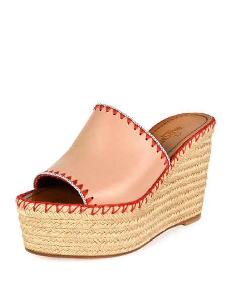 Valentino Garavani Whipstitch Espadrille Slide Sandal, Skin