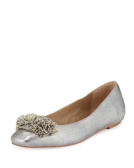 Delman Frill Fringe Ballerina Flat, Steel