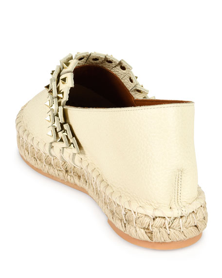 Rockstud Leather Espadrille Flat, Ivory