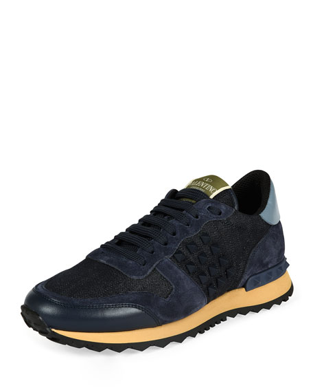 Valentino Colorblock Suede Lace-Up Sneaker, Deep Denim