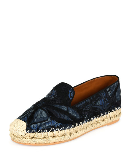 Valentino Butterfly-Print Fabric Espadrille, Night Blue/Black