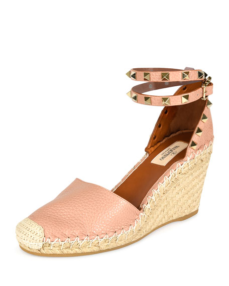 Valentino Rockstud Leather Espadrille Wedge, Skin Sorbet/Light