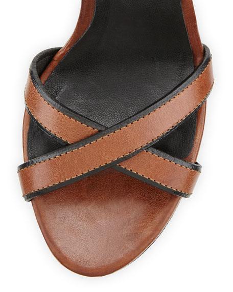 Whelan Crisscross Check Wedge Sandal, Dark Umber Brown
