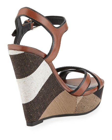 Whelan Crisscross Check Wedge Sandal, Dark Umber Brown