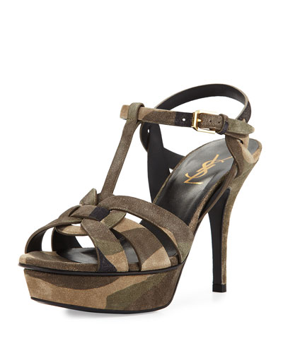 Tribute Suede Mid-Heel Sandal, Camouflage
