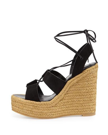 Suede Lace-Up Espadrille Sandal, Black/Multi