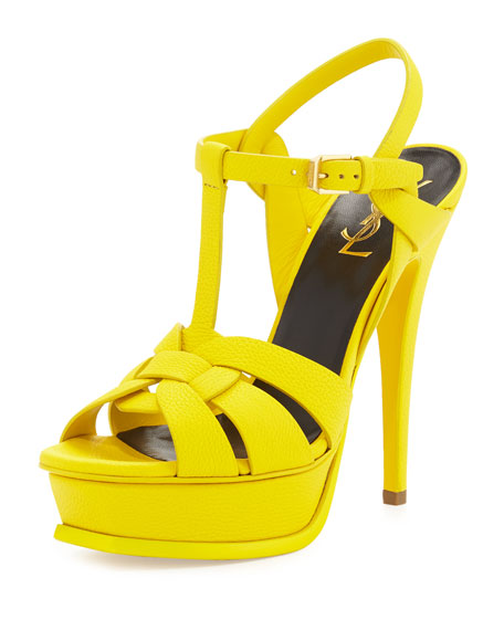 Saint Laurent Colorama Tribute Leather Platform Sandal, New