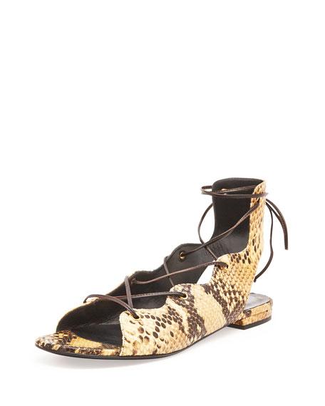 Saint Laurent Python-Print Gladiator Sandal, Soleado