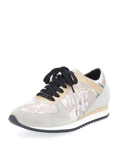 Tiger-Print Lace-Up Sneaker, Beige