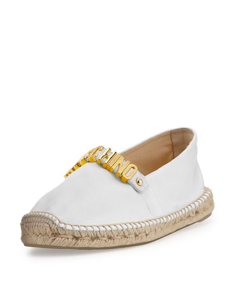 Moschino Lettering Canvas Espadrille Flat, White
