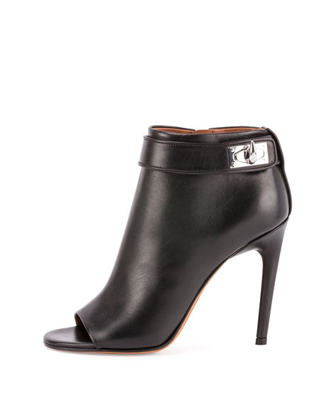 Shark-Lock Open-Toe Bootie, Black
