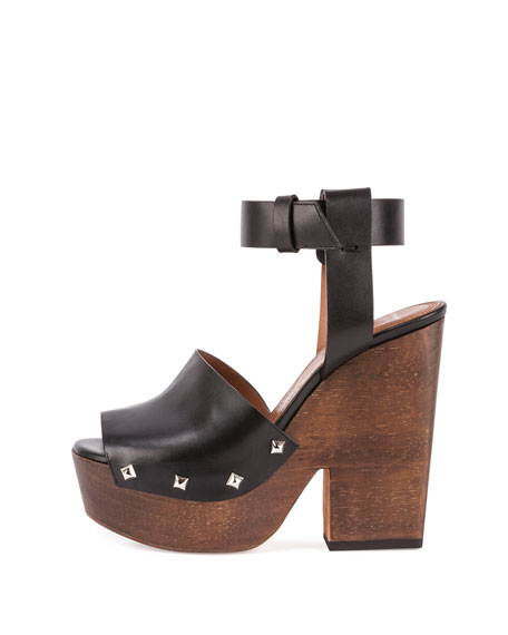 Leather Wedge Clog Sandal, Black