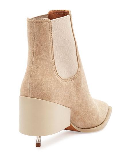 Suede Screw-Heel Chelsea Boot, Beige