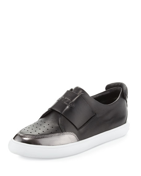 Kenzo Perforated Leather Logo Sneaker, Black