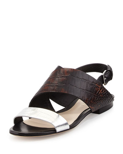 Martini Crocodile-Embossed Flat Sandal, Antique Brown