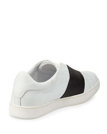 Vista Striped Leather Sneaker, Plaster/Black