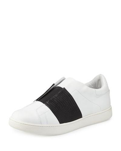 Vista Striped Leather Sneaker, Plaster/Black
