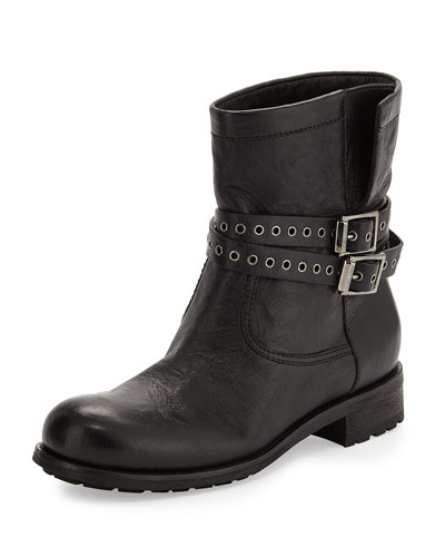 Elle Buckle Leather Biker Boot, Black