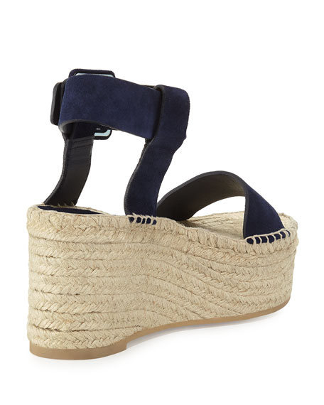 Abby Suede Espadrille Sandal, Blue Marine