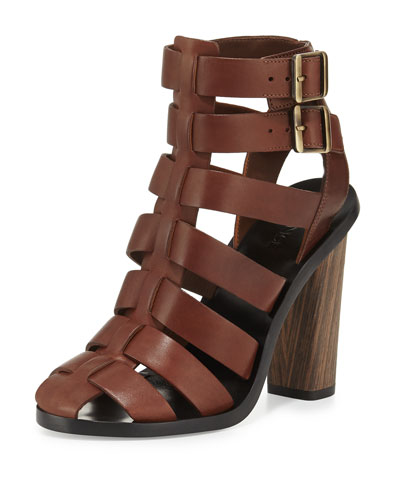 Nicolette Strappy Leather Sandal, Saddle