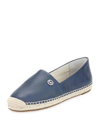 Kendrick Leather Espadrille Flat, Navy