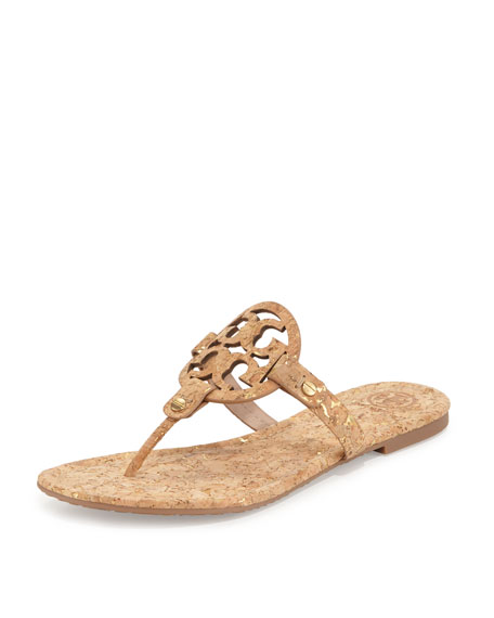 Tory Burch Miller Cork Logo Thong Sandal, Natural Gold