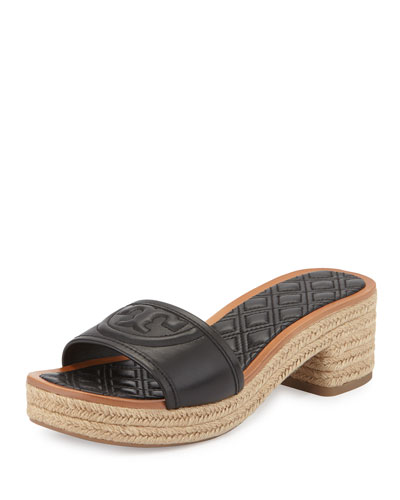 Fleming Quilted Leather Espadrille Mule, Black