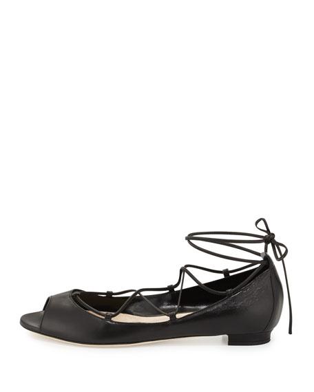 Aneska Leather Lace-Up Open-Toe Flat, Black