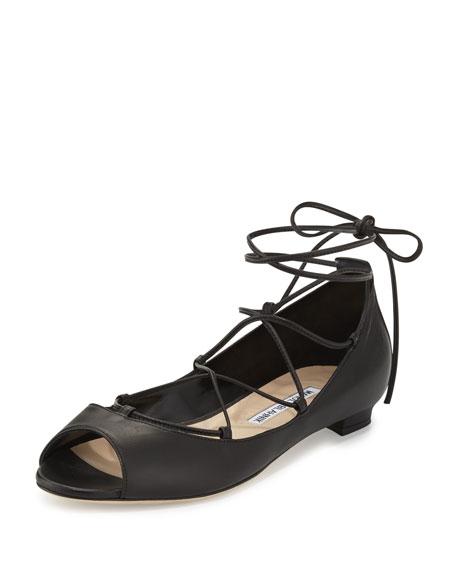 Manolo Blahnik Aneska Leather Lace-Up Open-Toe Flat, Black