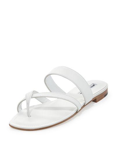 Susa Leather Low-Heel Sandal, White
