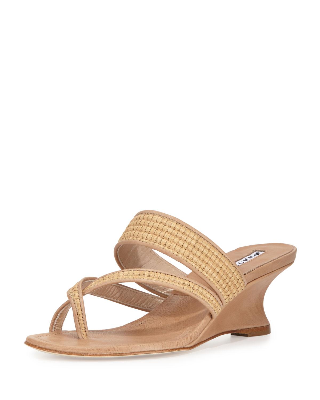 Manolo Blahnik Susa Raffia Wedge Slide Thong Sandals