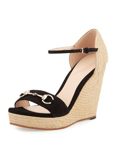 697e060f4f3ea Gucci Carolina Suede Espadrille Wedge Sandal