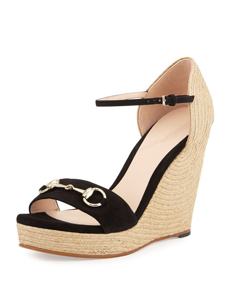 Gucci Carolina Suede Espadrille Wedge Sandal, Black