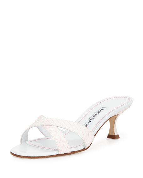 Manolo Blahnik Callamu Snakeskin Slide Sandal, White