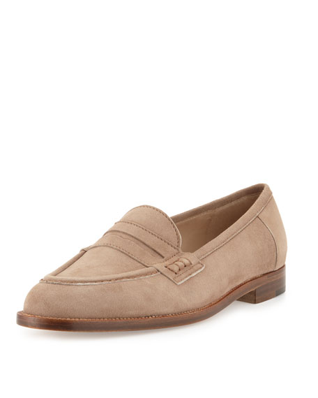 Manolo Blahnik Urbane Suede Flat Penny Loafer, Taupe