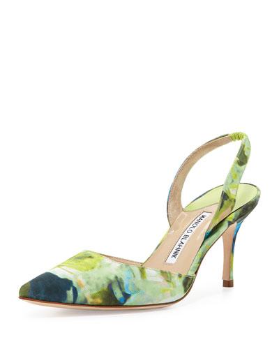 Carolyne Mid-Heel Fabric Halter Pump, Green Floral