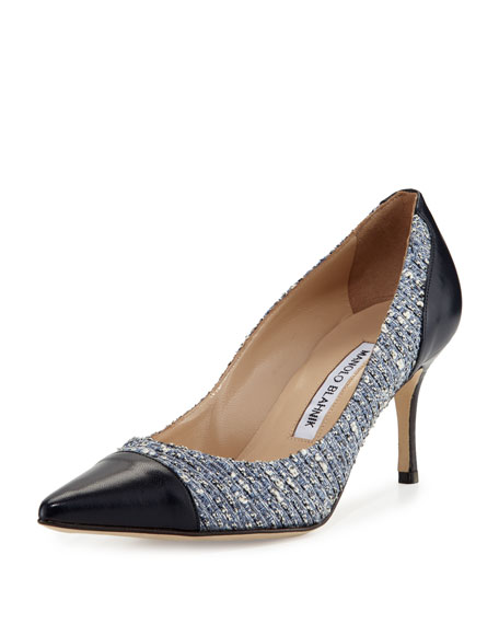 Manolo Blahnik Alban Tweed Pointed-Toe Pump, Navy