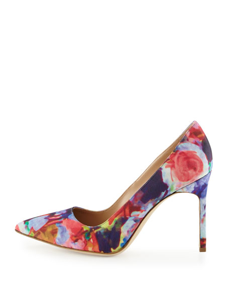 BB Floral-Print Fabric 105mm Pump, Pink