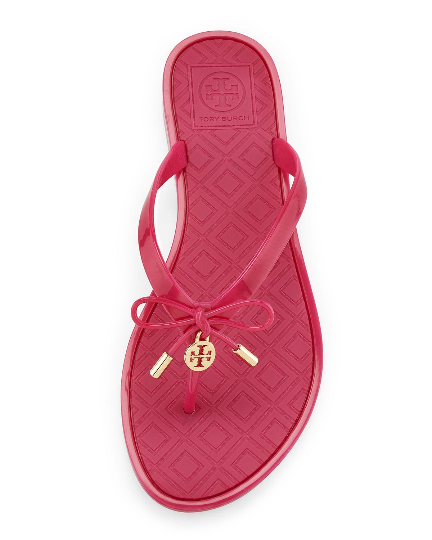 5c05b1f518b0af Tory Burch Jelly Bow Logo-Charm Thong Sandals