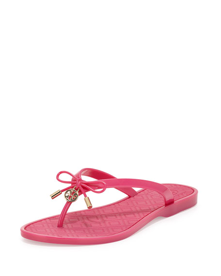 Tory Burch Jelly Bow Logo-Charm Thong Sandal, Saucy Pink