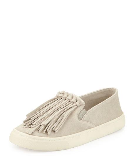 Fria Fringe Suede Slip-On Sneaker, Cement